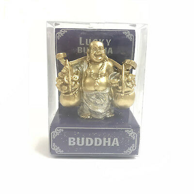 Lucky Buddha Figurine For Good Luck, Happiness and Fortune 9cm High in Gift Box