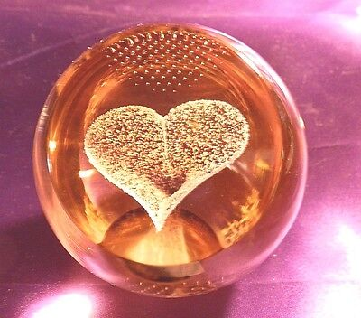 Caithness Crystal Paperweight with Gold Heart (Scotland) Numbered