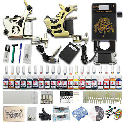 Neuf Complete Tattoo Kit de Tatouage 2 Machine Gun à Tatouer 20 Encre Tip DJ24