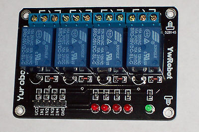 Usa !! 1 Pc 5Vdc 4-Channel 10 Amp Relay Module , Low Level Ttl Input , With Leds