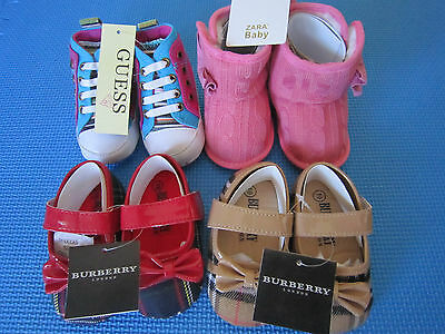 New w tag Zara or Guess Baby Toddler Girl Soft Sole Shoes 0-18 M
