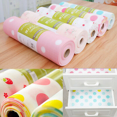 Cute Polka Dots Rose Strawberry Non Adhesive Paper Shelf Drawer Liner 30x300cm