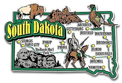 South Dakota Jumbo State Map Fridge Magnet