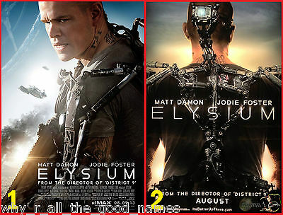 Movie Poster ELYSIUM - 2013 Matt Damon / Jodie Foster - Sci-Fi Action Drama
