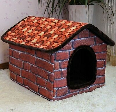 New Indoor Brown Brick Wall Pet Dog Cat House Beds Kennel Gabardine Size M,L,XL