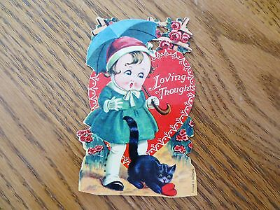 """1930s Valentine's Day Card """"Loving Thoughts"""" Heart Cat Made in Germany Used"""