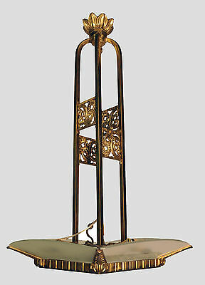 French Bronze Art Deco Modern Chandelier with Frosted Glass Panels c. 1940's