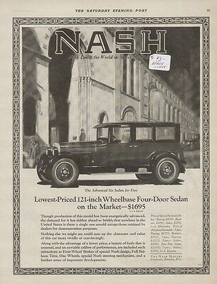 Nash Advanced Six Sedan for Five 1920 Vintage Car Ad