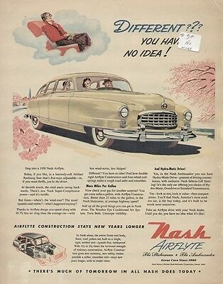 "Nash Airflyte Ambassador/Statesman 1950 Vintage Yellow Car Ad ""Different?"""