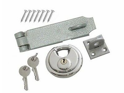 Hasp And Staple Heavy Duty Security Set 70Mm Disc Round Padlock 2 Keys