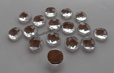 15 PERLES STRASS CABOCHON ROND A COLLER ACRYLIQUE TRANSPARENT 20 mm - BIJOUX