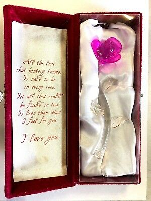 Glass Red Rose In Nice Black Keepsake Velet Box - Great Gift For Any Occasion