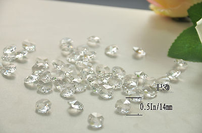 50PCS 14 MM AAA OCTAGON CRYSTAL GLASS CHANDELIER PRISMS BEADS LAMP PRISMS PARTS