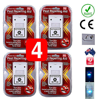 4 X RIDDEX Plus Electronic Ultrasonic Pest Control,  Repeller Spiders Rats Mice