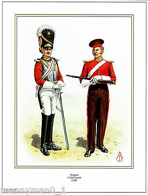 British Artist signed Military Print Troopers 1st Life Guards C 1830