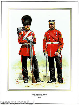 British signed Military Print Colour Sergeant & Sergeant Coldstream Guards 1856