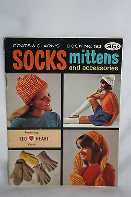 Vintage 1969 Coats & Clark's Book No. 192 Socks Mittens & Accessories