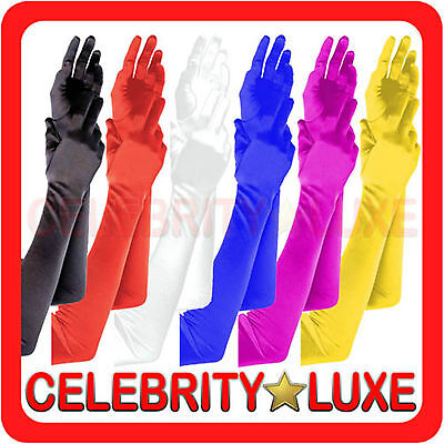New Ladies Long Satin Gloves Opera Costume Bridal Party Prom Wedding 20s Flapper