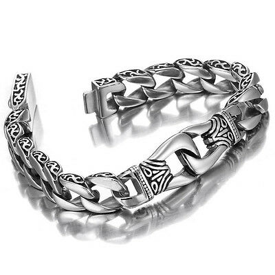 Men's Silver Dragon Chain Stainless Steel Bracelet Heavy Link Bangle Handcuffs