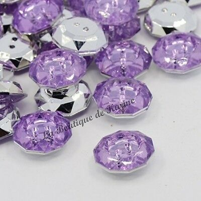 LOT 10 BOUTONS FANTAISIES STRASS VIOLET 18 mm - 2 TROUS - COUTURE SCRAPBOOKING