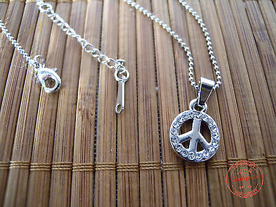 Collana Girocollo Ciondolo PACE Strass PEACE Catenina col.Argento DONNA Estate