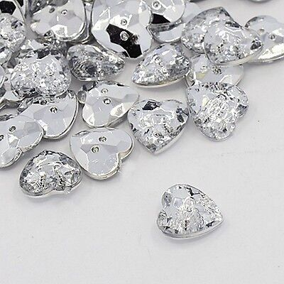 10 BOUTONS FANTAISIES STRASS TRANSPARENT 13 mm FORME COEUR - 2 TROUS - COUTURE