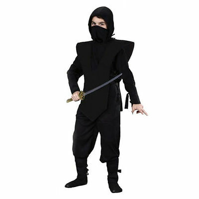 Ninja Costume Kids Boy Warrior Master Kungfu Black Fancy Dress Party Halloween