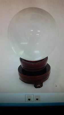 100 mm Clear Crystall Ball With Wooden Rotating Base. Feng Shui