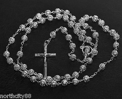 "Rosary Necklace Silver Plated Filigree Bead Rosary 22"" Religious Catholic Rosary"