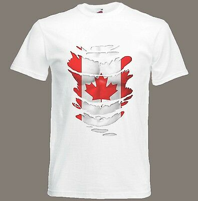 Canadian Flag T-Shirt see Muscles through Ripped T-Shirt Canada Size S - XXXL
