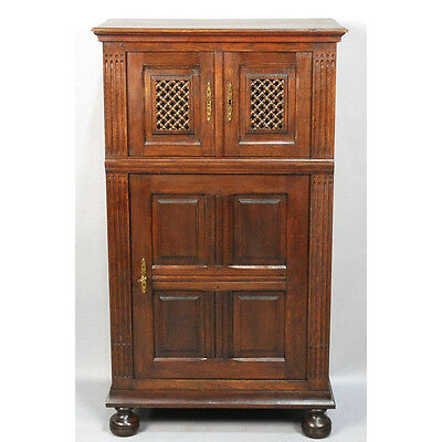 Antique Carved Oak French Country Rustic Provincial Refectory Bar Cabinet