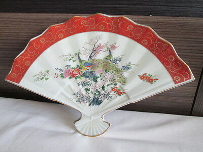 Vintage Japanese Satsuma fan shape plate peacock, flowers with gold gilding