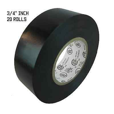 """TapesSupply 20 Rolls Black Electrical Tape 3//4/"""" X 66 Ft"""