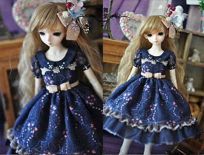 1/3 bjd sd13/sd10 girl outfit blue doll dress set dollfie luts #SD120-L ship US