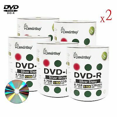 1000 Pack Grade A+ Smartbuy 16X DVD-R 4.7GB Shiny Silver Top Blank Record Disc