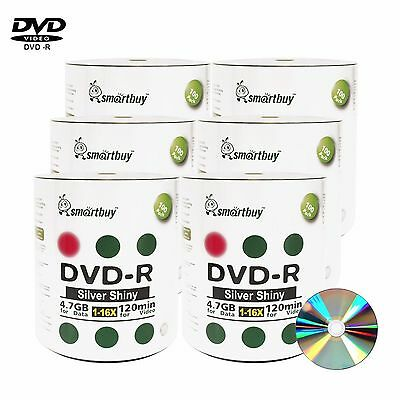 600 Pack Smartbuy 16X DVD-R DVDR 4.7GB Shiny Silver Music Video Data Record Disc