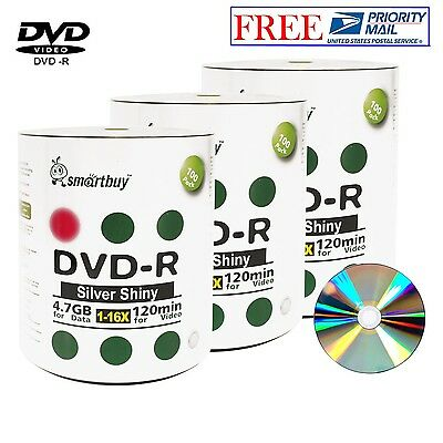 300 Pack Smartbuy DVD-R 16X 4.7GB Shiny Silver Blank Music Video Recordable Disc