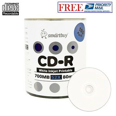 100 Pack Smartbuy Blank CD-R 52X 700MB 80M White Inkjet Printable Record Disc