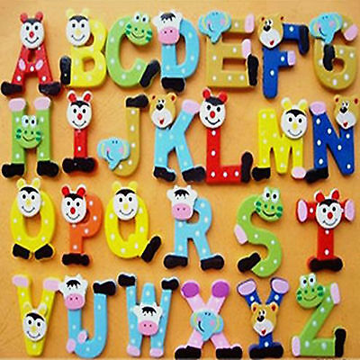 Fun Wooden Magnetic Fridge Magnet Numbers &Alphabet Letters Kids Educational Toy