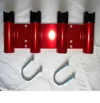 New 4 Tube  Aluminum Bull Bar & Boat Rod Holder-----Red mirror polished body