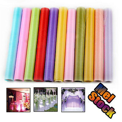 27M x 75CM Roll Crystal Sheer DIY Organza Fabric Wedding Party Chair Sash Bows