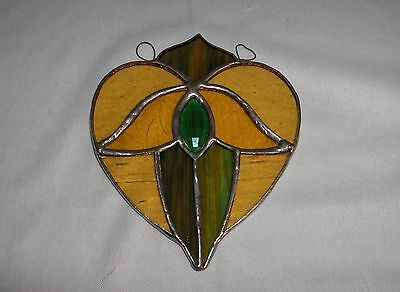 Vintage Stained Glass Art Glass Angel In Heart Suncatcher Window Ornament