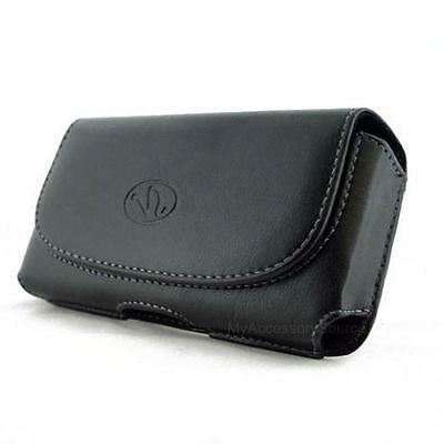 Black Leather Sideways Case Pouch Belt Clip 2 Loops Carrying Holster For Kyocera