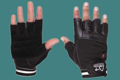 Weight Lifting Gym Gloves Leather Black Slim Fitting Men Women Unisex