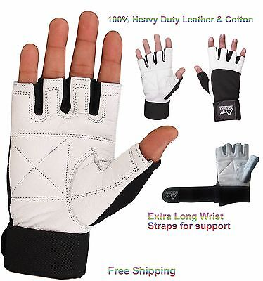 White Leather Gym Weight lifting wrist support bodybuilding long strap Gloves