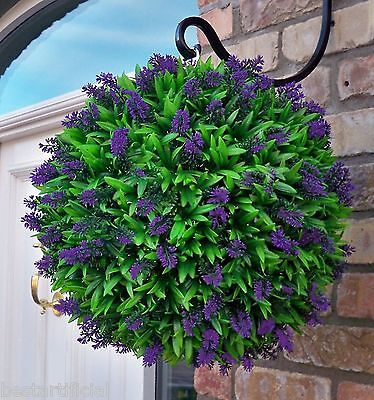 Best Artificial Purple Lavender Flower Ball Hanging Topiary Garden Basket Plant