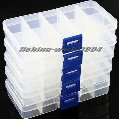 10 & 15 Compartment Organiser Storage Plastic Box Jewellery Craft Nail Art Beads