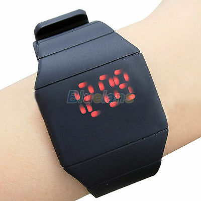 Mens Womens Fashion Digital Display Red Led Touch Screen Silicone Wristwatch
