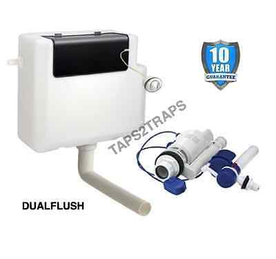 CONCEALED DUAL FLUSH TOILET CISTERN 6L FRONT ACCESS Side Entry + Chrome Button