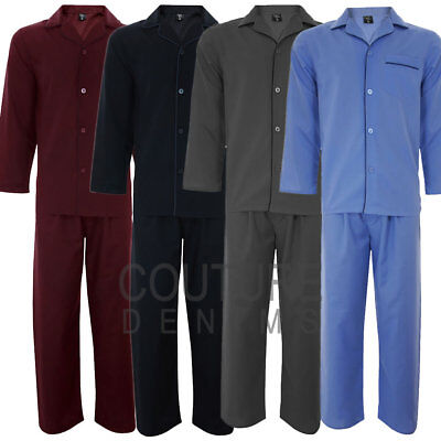 Mens PJ's Plain Pyjama Set Flannel Pyjamas Lounge Wear Thermal Nightwear Shirt